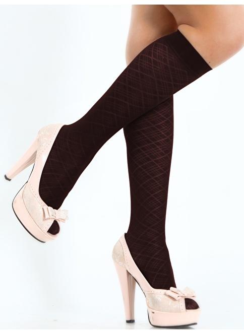 Pierre Cardin 3'Lü Desenli Dizaltı Çorap Kahve
